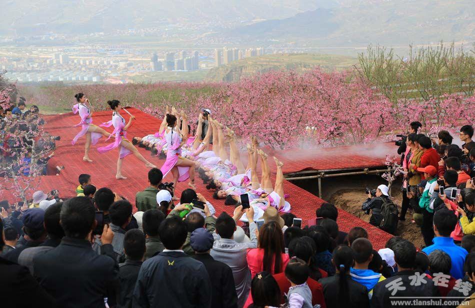 """(天水市歌舞团演员在""""中国美丽田园·秦安何湾桃花景观""""演出舞蹈"""