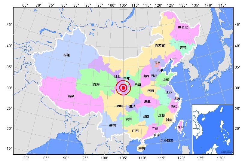 天水市武山县5月7日22时2分26秒发生3.8级地震(图)