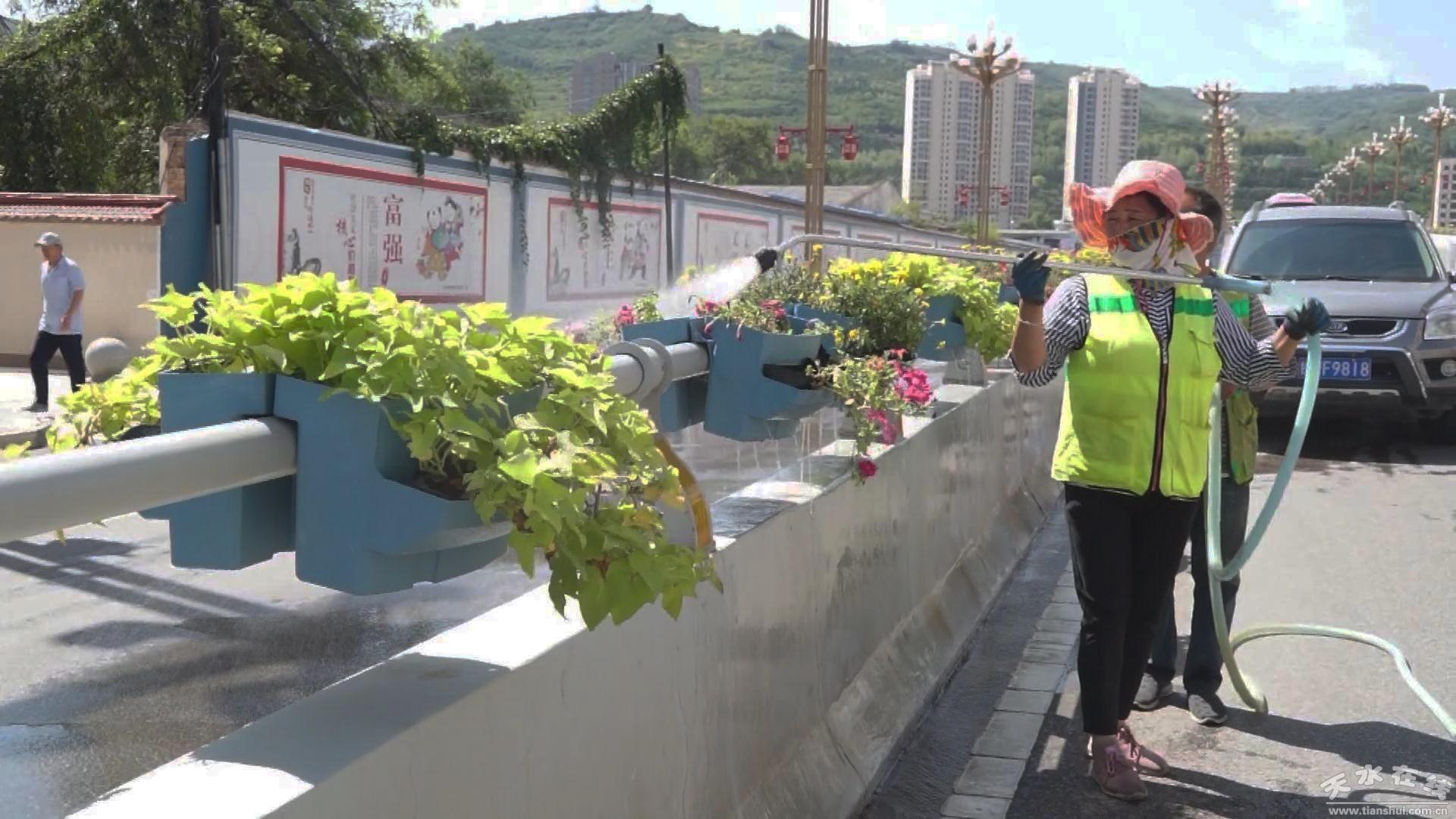 秦州区园林部门开展绿化高温养护工作(图)